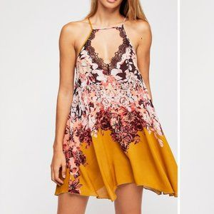 Free People Floral Haze Printed Mini Slip Dress M